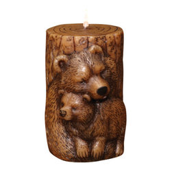 Deco Glow - Bear Sculpted Pillar Candle, Set of 3 - This  whimsical  rustic  bear  candle  features  a  mother  bear  and  her  cub  sculpted  on  the  front  of  a  pillar  candle  shaped  to  resemble  a  log,  complete  with  tree  rings.  One  of  several  sculpted  wildlife  pillar  candles  available,  this  unique  cabin  accessory  will  cast  a  glow  over  the  coldest  winter  night.