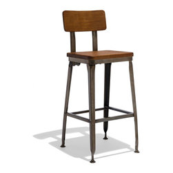 Industry West - Octane Counter Stool with a Wood Seat - For taking a seat at the soda fountain, your local speak-easy, or for your own retro-glam kitchen: The Octane Collection comes in a shiny gunmetal finish with a soft-upholstered leather seat...after all, opposites attract.