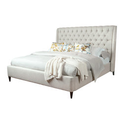 Kathy Kuo Home - Kara Hollywood Regency Button Tufted Fawn Linen Queen Bed - Drift to sleep on a sea of diamonds. This bed features a tall diamond-tufted headboard and low frame wrapped in the same dreamy linen, all supported on dainty, dark-stained legs. It's understated luxury at its finest.