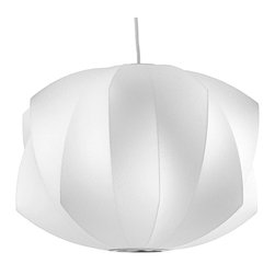 Modernica - Bubble Lamp, Propeller, Medium - Taking its cues from midcentury design, this handcrafted ceiling pendant features a white ridged shade, six feet of white cord and a brushed-nickel ceiling plate. Flank your bed or bathroom vanity or place one over your breakfast table for a little earthy, organic enlightenment.