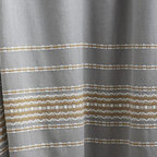 """Coyuchi - Rippled Stripe Shower Curtain 72""""x72"""" Deep Pewter w/Mustard - Woven scallops and stripes traverse organic cotton, bringing unexpected verve to the bath. Our shower curtain is unlined, and can be used with an additional liner or without'just squeeze the water out of the lower edge after use and let it dry. Hangs from rustproof metal grommets across the top."""