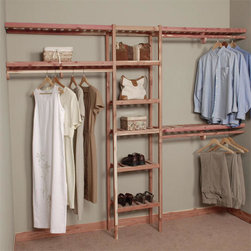 Basic Ventilated Cedar Closet Wall Kit - Get organized with this Basic Ventilated Cedar Closet Wall Kit, featuring a cubby storage system, shelves and hanging rods, each handmade from aromatic red cedar. This closet system has been harvested and handcrafted by skilled artisans in Kentucky.