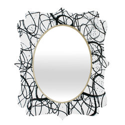 DENY Designs - Kent Youngstrom Squiggle Quatrefoil Mirror - Mirror, mirror on the wall. Who's the fairest one of all? We'll that's easy, the quatrefoil mirror collection, of course! With a sleek mix of baltic birch ply trim that's unique to each piece and a glossy aluminum frame, the rectangular mirror makes you feel oh so pretty every time you catch a glimpse. Custom made in the USA for every order.