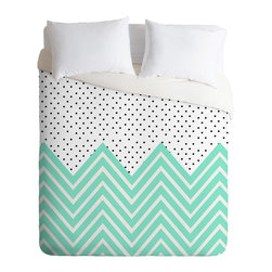 DENY Designs - Allyson Johnson Minty Chevron And Dots Duvet Cover - Turn your basic, boring down comforter into the super stylish focal point of your bedroom. Our Luxe Duvet is made from a heavy-weight luxurious woven polyester with a 50% cotton/50% polyester cream bottom. It also includes a hidden zipper with interior corner ties to secure your comforter. it's comfy, fade-resistant, and custom printed for each and every customer.