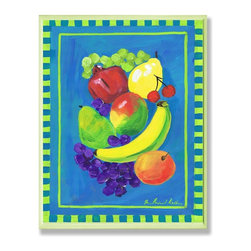 Stupell Industries - Pomegranate Fruit Blue and Green Kitchen Wall Plaque - Made in USA. Ready for Hanging. Hand Finished and Original Artwork. No Assembly Required. 15 in L x 0.5 in W x 15 in H (2 lbs.)What better way to add class to your home than with a wall plaque from the Stupell Home Decor Collection? Made in the USA and featuring original artwork,you are sure to find the perfect match for wherever you are looking to design. Each plaque comes mounted on sturdy half inch thick mdf and features hand painted edges.  It also comes with a sawtooth hanger on the back for instant use.