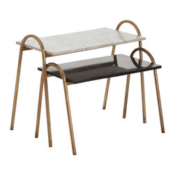 Kathy Kuo Home - Coleman Vintage Brass White and Black Marble Nesting Tables - Set of Two - These nesting tables pair industrial, practical design with glamorous marble tabletops.  The vintage brass bases on each table rise above the marble to form eye-catching arches that also function as convenient handles.  They are constructed to easily nest under one another for easy storage. The larger table features a white marble tabletop, while the smaller is constructed with black marble, to bring some contrast into any modern home.