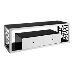 Walker Edison - Modern Mosaic 60 in. TV Stand - Stylish, modern design. Thick, tempered safety glass. Black, silk-screened 8 mm glass. Hand-brushed, silver steel frame. Beautiful, three-toned finish. Laser side cutouts with a mosaic design. Two multi-functional drawers for extra storage. Accommodates most flat-panel TVs up to 65 in.. TV stand holds up to 250 lbs.. Ample storage space for A/V components. Ships ready-to-assemble with necessary hardware and tools. Assembly instructions included with toll-free number and online support. Dimensions: 60 in.  W x 20 in.  D x 20 in.  H(117 lbs. )Bring a sophisticated look to any entertaining area, or living room with this uniquely designed TV stand. A thick, tempered safety glass fits firmly in a hand-brushed silver, steel frame with intricate, laser side cutouts in a mosaic design. The accentuated white on two multi-functional storage drawers offer a beautiful three-toned finish. Its vast size combined with durable construction supports most TVs up to 65 inches.