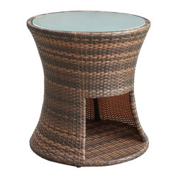Strum Patio Outdoor Patio Side Table - Play your way to a beat you can groove to. Strum is a small yet rhythmic piece that will accent your outdoor patio arrangement, while fashionably offering up an additional spot to land your beverage. Complete with a useful storage compartment and tempered glass top, Strum is a streamlined mixed coloration rattan piece that imparts a sweeping sense of joy and gladness of heart.