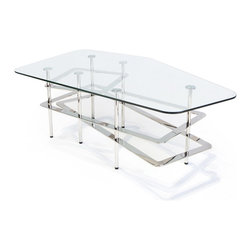 Lounge22 - Louvre Glass-Top Coffee Table - A museum-worthy piece for your space, the Louvre Coffee Table is sure to make a clear and bold statement in any space. Like its iconic pyramid landmark namesake, the table balances glass and metal ideally. It features an elongated pentagonal glass top and three layers of geometric metalwork.