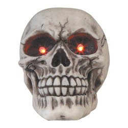 GSC - 4.75 Inch Off White Medium Head Skull Figurine with LED Lit Eyes - This gorgeous 4.75 Inch Off White Medium Head Skull Figurine with LED Lit Eyes has the finest details and highest quality you will find anywhere! 4.75 Inch Off White Medium Head Skull Figurine with LED Lit Eyes is truly remarkable.