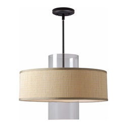 Kenroy - Kenroy KR-93000BAM Annie 1 Light Pendant - A bold harmony of materials combines in a fashionable use of cylindrical glass and drum fabric shades, the Annie Pendants are a fresh and fun update to casual and modern decor spaces. Available in Bamboo or Black Fabric shades.