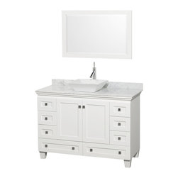 "Wyndham Collection - 48"" Acclaim White Single Vanity w/ White Carrera Top & Pyra White Porcelain Sink - Sublimely linking traditional and modern design aesthetics, and part of the exclusive Wyndham Collection Designer Series by Christopher Grubb, the Acclaim Vanity is at home in almost every bathroom decor. This solid oak vanity blends the simple lines of traditional design with modern elements like beautiful overmount sinks and brushed chrome hardware, resulting in a timeless piece of bathroom furniture. The Acclaim comes with a White Carrera or Ivory marble counter, a choice of sinks, and matching mirrors. Featuring soft close door hinges and drawer glides, you'll never hear a noisy door again! Meticulously finished with brushed chrome hardware, the attention to detail on this beautiful vanity is second to none and is sure to be envy of your friends and neighbors"