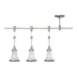 Sea Gull Lighting - Sea Gull Lighting Three Light Torry Pendant Rail Kit X-569-81549 - This Sea Gull Lighting Three Light Torry Pendant Rail Kit is a piece unlike any other. It features a frame with a sleek, antique brushed nickel finish that supports three beautiful, satin etched glass shade. It's an interesting piece that's sure to gain praise and admiration from anyone who sees it hanging in your home.
