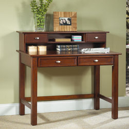"Home Styles - Hanover Student Desk and Hutch Set - Give your student a sturdy place to get their work done with Hanover Student Desk and Hutch Set. This desk comes is constructed of a mix of solid and wood veneers. The student desk has easy glide drawers for storing papers and supplies. An opening beneath the shelves offers a place to manage wires from your computer and home electronics. Perfect for virtually any room in your home. Features: -Easy glide drawers on student desk.-Open storage areas on hutch.-Wire management opening on hutch.-Hutch comes fully assembled.-Solid wood and wood veneer construction.-Desk Type: Writing desk.-Top Finish: Cherry.-Base Finish: Cherry.-Powder Coated Finish: No.-Gloss Finish: No.-UV Finish: No.-Top Material: Wood.-Base Material: Wood.-Number of Items Included: 2.-Pieces Included: Desk and hutch.-Distressed: No.-Collection: Hanover.-Keyboard Tray: No.-Drawers Included: Yes.-Chair Included: No.-Commercial Use: No.-Product Care: Clean with damp cloth.-Swatch Available: No.-Recycled Content: No.Specifications: -Drawers on hutch.-FSC Certified: No.-CARB Compliant: Yes.-ISTA 3A Certified: Yes.Dimensions: -Overall Height - Top to Bottom: 38.75"".-Overall Width - Side to Side: 42"".-Overall Depth - Front to Back: 24"".-Cabinet: No.-Drawer: -Drawer Interior Height - Top to Bottom: 2"".-Drawer Interior Width - Side to Side: 13.75"".-Drawer Interior Depth - Front to Back: 17.5""..-Shelving: Yes.-Hutch: Yes.-Overall Product Weight: 77 lbs.Assembly: -Only assembly for desk is attaching legs.-Assembly Required: Yes."
