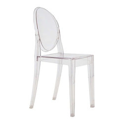 Lemoderno - Fine Mod Imports  Clear Side Chair, Clear - In spite of the evenescent and crystaline impression, strong resistant to blows, scratchproof and weatherproof; as many as six peices can be piled up. With a strongly charismatic charcter and outstanding aesthetic appeal, this chair fits perfectly into every home or public area with elegance and irony. Made of transparent acrylic    Assembled
