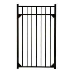 Specrail - Specrail Cheshire Aluminum Walk Gate 3-Rail Panel - 4.5 ft. Multicolor - GR9543A - Shop for Fencing and Fencing Materials from Hayneedle.com! The Specrail Cheshire Aluminum Walk Gate 3-Rail Panel - 4.5 ft. is a sophisticated and elegant gate that gives your property added protection. Crafted from high quality aluminum that won t rust and is maintenance free so you don t have to paint or stain it this walk gate was made in the finest fabrication and finishing facilities in the industry. A fully welded design including welded corner gussets adds strength and durability to this beautiful gate that is designed to look like traditional wrought iron. Two self-closing hinges and a lad-lockable gravity latch are included. Made to be used with the DIY Fence Universal Fence Post and DIY Fence Asbury 543 Fence Panel system you can use this gate as an entrance to your yard or even your pool area since it meets BOCA requirements in most areas.Additional FeaturesDesigned to be used with DIY Fence Universal Fence PostUse with the DIY Fence Asbury 543 Fence Panel SystemNot advisable to mix and match fencing brandsAll welded construction is durable and strongGorgeous and functional gateWelded corner gussets add strengthIncludes 2 self-closing hingesAlso includes pad-lockable gravity latchMeets BOCA pool code requirements in most areasGives you the beauty of traditional wrought ironEasy to installAbout SPECRAILSPECRAIL has been designing aluminum products of the highest quality for over 50 years. They offer the widest selection of any ornamental aluminum fencing company and their extraordinary line includes 11 styles 4 grades and 5 colors. SPECRAIL brings beauty strength and a traditional wrought iron look to their maintenance-free aluminum fencing. Every piece they manufacture represents their strong commitment to meeting the needs of their customers and their dedication to quality.