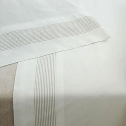 Stitch Grey Fitted Sheet - Grey cotton sheeting with khaki embroidery stitching detail. fitted and flat sheets sold separately. pillowcases sold in pairs.
