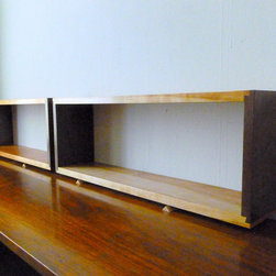 Simple Elegant Walnut & Cherry Wall Shelf Box Open Back Mid Century Modern Style - Beautiful and convenient sized shelf made with a half sliding dovetail joint. These are not easy to set up and make but they are worth the effort - very clean and unique looking as well as strong.