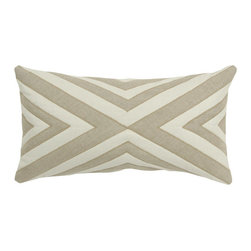 """V Rugs & Home - V Rugs & Home Valery Oyster & Oatmeal Long Pillow - The V Rugs & Home Valery pillow intrigues with a mesmerizing design. This cream hemp accent's oatmeal and oyster gray appliques create a striped pattern for textured appeal. 26""""W x 14""""H; Velvet appliques; Insert included"""
