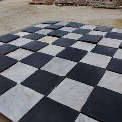 "Antique Black and White Marble Spanish Monastery Tiles - Very rare reclaimed antique Spanish monastery marble slabs.  Black and white marble slabs in 12"" square format for checkerboard or framed patterned installation."