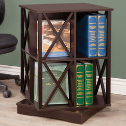 Coaster - Swivel Bookcase, Cappuccino - Stay organized with this swivel bookcase, featuring eight compartments with x style accents.
