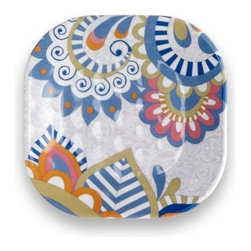Q Squared NYC - Sanibel Appetizer Plate Set/6 - Disappear to the Sandy Beaches of Sanibel Island with pretty pastels and paisley prints.