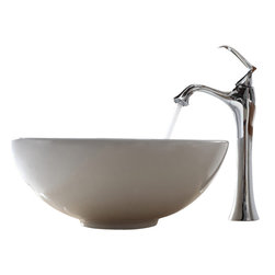 Kraus - Kraus White Round Ceramic Sink and Ventus Faucet Chrome - *Add a touch of elegance to your bathroom with a ceramic sink combo from Kraus