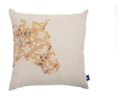 White Horse Home - Floral Horse Cushion Cover - Run for the roses! Equestrian lovers of every age will appreciate this witty design of a hand-drawn horse made up of flowers. Use it to add a note of whimsy to your bed, sofa or chair.