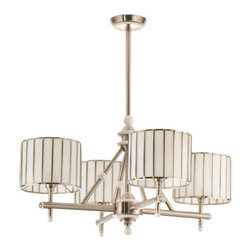 "Meyda Tiffany - Meyda 30""W Revolution 4-Light Chandelier - David Land is, renowned designer, takes copper foiled stained glass a step beyond the ordinary. This classic modern architectural four light chandelier, with White glass and Brushed Nickel finish was designed for today's lifestyle."