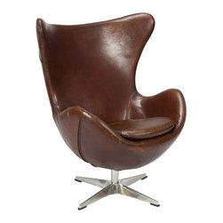 Victoria Brown Club Chair - Impress the underlings with this exceptional Victoria Club Chair in Brown behind your desk. The bold shaping cradles the entire body, providing excellent support without sacrificing dynamic style. Rich brown top grain leather is smooth and supple, with a winged back and deep seat augmented with a sleek cushion. The stainless steel 4-point base adds just a touch of contemporary charm.
