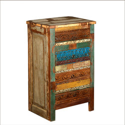 Multi Striped Night Stand End Table Reclaimed Wood Furniture -