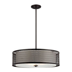 """Designers Fountain - Designers Fountain Continental Drum Shade Pendant Light in Artisan - Shown in picture: Continental 26"""" Pendant in Artisan finish with Ivory glass"""