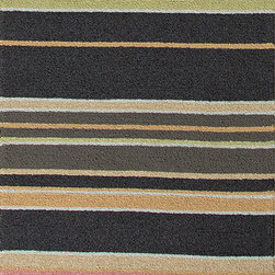 Jaipur Rugs - Stripe Pattern Blue Indoor/ Outdoor Rug - CO03, 2.6x8 - Bring visual pop to outdoor living with the Colours I-O Collection. This energetic range of stripe, zigzag and stair-step designs bring together a myriad of multicolor palettes all in durable, hand-hooked polypropylene construction. With its fashion-forward styles and bold scale, each design can function in a broad range of contemporary and transitional spaces both indoor and out.