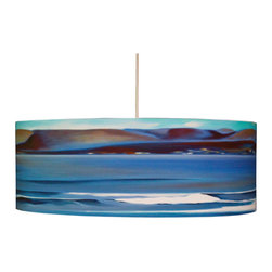 "Rowan Chase - Across the Bay, 24"" X 9"", with Diffuser - The waves and colors from the sea can now flow right into your bedroom with the Across the Bay drum pendants by Californian artist Rowan Chase. These unique lamps are constructed on white powder coated lampshade rings with Rowan Chase artwork. 100% Cotton Velvet Watercolor paper, a white 10 foot cord with porcelain fixture and white ceiling canopy. Lamps come assembled and ready for installation. They are handmade in California one shade at a time by Rowan Chase himself in his studio. Available in four sizes from 8"" to an amazing 24"" centerpiece which completely changes your dining, bed or living room! All shades are 9"" tall."