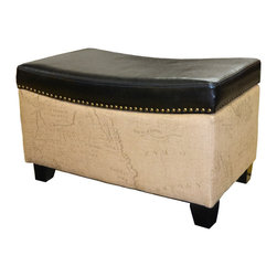 Armen Living - Armen Living Storage Ottoman Map Jute Fabric in Vintage Brown Bonded Trim - Rest a tray of cocktails or stow blankets and throws inside this stylish storage ottoman. Accented with antique nails and wrapped in a harmony of plush antique bonded leather and jute fabric for lasting appeal.