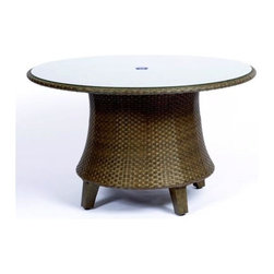 Woodard - Del Cristo 54 in. Round Woven Dining Table w Glass Top - Wicker frame. 54 in. Dia. x 28 in. H. All products are made to order. Orders cannot be cancelled after 5 calendar days. If order is cancelled after 5 calendar days, a 50% restocking fee will be applied.
