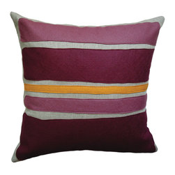 Balanced Design - Felt Appliqué Linen Pillow - Color Block, Burgandy/Spice, 16x16 - Get that charming handcrafted look with this appliqued throw pillow in red wool felt on linen. The bold color block design has a modern art feel, contrasting with the traditional vibe of the felt. Try combining this pillow with other bold patterns for a fun, modern look. Made with an ecofriendly insert of 50 percent regenerated fiber from recycled plastic bottles.