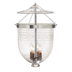 "Greek Key Etching Hundi Glass Bell Jar Lantern 12""D, Nickel Silver - Greek Key Design Hundi Glass Bell Jar Lantern 12"" Diameter, Approximate 26"" Height (Jar Height 15.5"") with 4 lights. Comes in 3 Finishes- Antique Brass, Antique Bronze, Nickel Silver. Each bell jar comes with glass lid, electrification kit and 3 feet of chain and corresponding canopy."