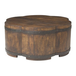 Vanguard - Cocktail Ottoman - Feeling like a little glass of Merlot tonight? With wine barrel style that seems to magically work anywhere, this piece is sturdy and durable piece would not only hold your beverage, it could take your entire fridge.