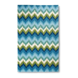 """Grandin Road - Vera Flame Outdoor Area Rug - 24"""" x 36"""" - Designer-inspired outdoor area rug woven in a flame stitch pattern with a marvelous high-low texture. 100% polypropylene fibers shrug off the elements. Hand hooked, looped construction. For use indoors or out. Professional cleaning recommended. With a lively, dimensional interpretation of the classic flame stitch pattern in cool blues and greens, the Vera Flame outdoor area rug is haute couture for your outdoor—or indoor—floor. The fresh and sophisticated design reaches new heights with a high-low texture that's splendid underfoot.  .  .  .  .  . Blot spills with an absorbent cloth, rinse with a hose and hang to dry thoroughly . Nonslip Rug Grip highly recommended (sold separately) . Imported."""