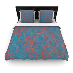 "Kess InHouse - Patternmuse ""Mandala Teal"" Red Blue Fleece Duvet Cover (King, 104"" x 88"") - You can curate your bedroom and turn your down comforter, UP! You're about to dream and WAKE in color with this uber stylish focal point of your bedroom with this duvet cover! Crafted at the click of your mouse, this duvet cover is not only personal and inspiring but super soft. Created out of microfiber material that is delectable, our duvets are ultra comfortable and beyond soft. Get up on the right side of the bed, or the left, this duvet cover will look good from every angle."