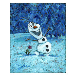 Disney Fine Art - Disney Fine Art Olaf Frozen by Trevor Mezak - Gallery Wrapped Giclee - Olaf by Disney Fine Art  -  From Walt Disney's Frozen  -  Hand Signed By The Artist: Trevor Mezak  -  Medium: Hand-Embellished on Pallet Knife-Textured Canvas  -  Size: 20 Inches Tall x 16 Inches Wide  -  Limited To 95 Pieces World Wide Worldwide  -  Produced by Collector's Editions  -  Fully Authorized Disney Fine Art Dealer  -  Gallery Wrapped  -  Ready To Be Hung  -  Can Be Framed Later If Desired  -  From The Walt Disney Motion Picture Frozen