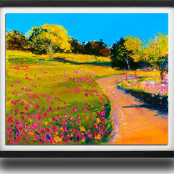 """Ann Rea - Bring home Sonoma Valley with """"Clover and Poppies"""", Black Frame, Large - """"'Clover and Poppies' was painted in Sonoma Valley which was filled with wildflowers. I had to convince the ranch manager to leave these weeds one more day so I could finish the painting."""" -Ann Rea"""