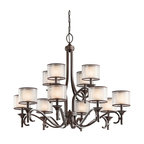 KICHLER - KICHLER Lacey Transitional Chandelier X-ZIM38324 - The Kichler Lighting Lacey Transitional chandelier is a confident design with classic elements. It features an impressive frame in a mission bronze finish. The opal inner glass provides bright lighting which is softened by the decorative mesh shade. This rustic chandelier is an excellent choice for formal, luxurious setting.