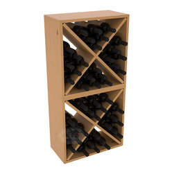 "Wine Racks America - 48 Bottle Wine Cube Collection in Ponderosa Pine, Oak Stain + Satin Finish - Two versatile 24 bottle wine cubes. Perfect for nooks, crannies, and converting that ""underneath"" space into wine storage. Mix and match finishes for a modern wine rack twist. Popular for its quick and easy assembly, this wine rack kit is a perfect storage solution for beginners and experts."