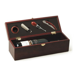 Luxe Wine Bottle Box and Tool Set - You're dressed to impress. This Luxe Wine Bottle Box and Tool Set lets others know that there's a budding oenophile underneath the high style. Encased in a burled cherry wood finish box are four indispensible wine tools: a pour spout, bottle stopper, corkscrew and drip ring. A padded insert secures the wine bottle of your choosing.