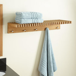 Hauck Teak Towel Shelf With Stainless Steel Hangers - The Hauck Teak Towel Shelf with Steel Hangers brings a natural look and added convenience to your bathroom, closet or even laundry room.