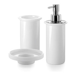 WS Bath Collections - Saon Accessory Set - Saon by WS Bath Collections Bathroom Accessories Set of Tumbler, Soap Dish, and Soap Dispenser White Porcelain Pump in Polished Chrome, Free Standing, Made in Italy