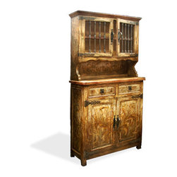 Koenig Collection - Old World Hutch Otto, Fresco Brown Torched With Cream And Scrolls - Old World Hutch Otto, Fresco Brown Torched with Cream and Scrolls