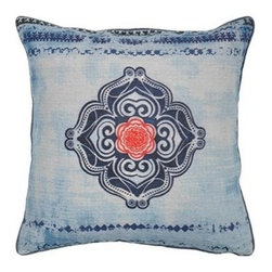 Villa Home - Indigo Dover Pillow - Peaceful and serene with a splash of burnt orange, each pillow is handcrafted from all natural 100% Linen fabric.  This Zen accent pillow features a distressed digital print fabric with embroidered accents and includes a feather down insert.